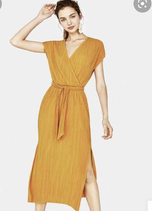 Горчичное платье bershka