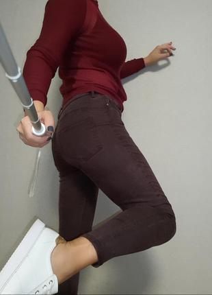 Бордовые осенние джинсы скинни f&f l/12 размер