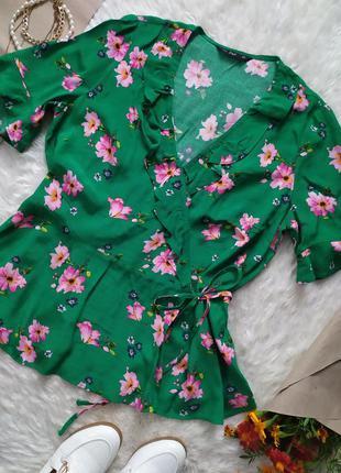 Актуальная вискозная зеленая блуза в цветочек на запах размер xl xxl бренд f&f