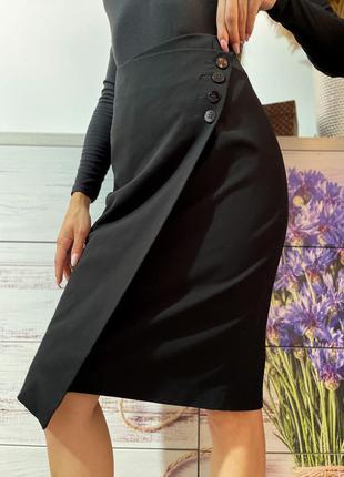 Чёрная ассиметричная юбка миди 1+1=3