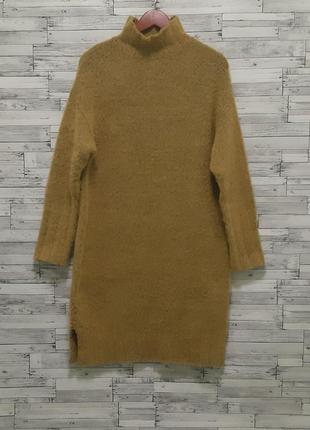 Вязаное теплое платье миди оверсайз