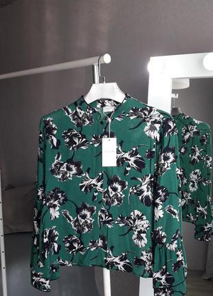 Блуза вискоза | цветочная блуза | блуза | зеленая хлопковая блуза