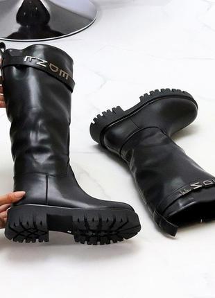 Ультра модные высокие черные женские зимние сапоги берцы на тракторной подошве  к. 11716