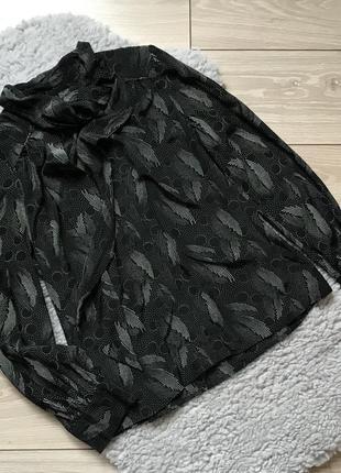 Чёрная рубашка с длинным рукавом бантом галстуком 100% шёлк