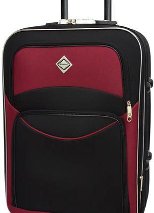 Чемодан тканевый маленький на шасси из 5 колёс bonro style s (черно-вишнёвый / dark red)