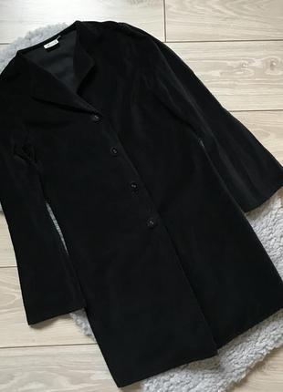 Чёрный удлинённый велюровый бархатный жакет пиджак s