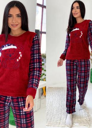 Теплая пижама в клетку р.42-50