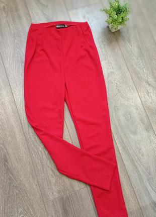 Красный алые стрейч узкие брюки высокая посадка