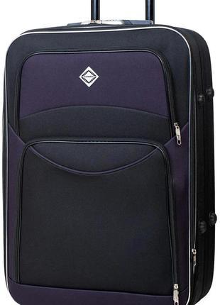 Чемодан тканевый маленький на шасси из 5 колёс bonro style s (черно-фиолетовый / purple)