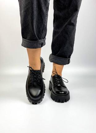 Кожаные туфли чёрные женские на высокой подошве шкіряні туфлі