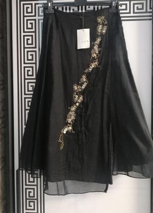 Спідниця юбка чорного кольору, на підкладці, на запах 💃