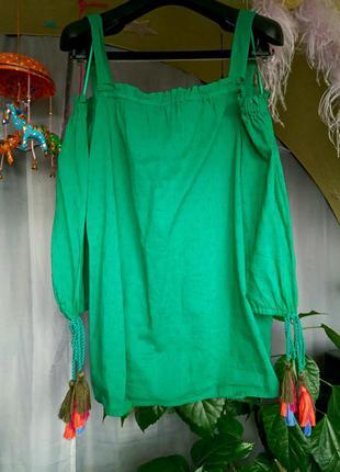 Шикарная блуза рубашка с открытыми плечами