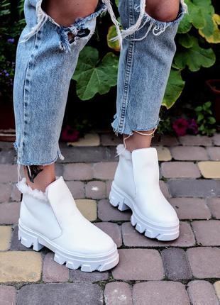 35-41 рр хайтопы, ботинки на платформе белые натуральная кожа