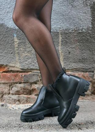 35-41 рр хайтопы, ботинки на платформе черные натуральная кожа
