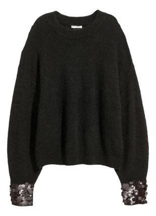 Стильный черный свитер полувер h&m