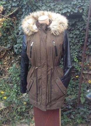 Куртка парка с кожаными рукавами, с капюшоном, цвет хаки