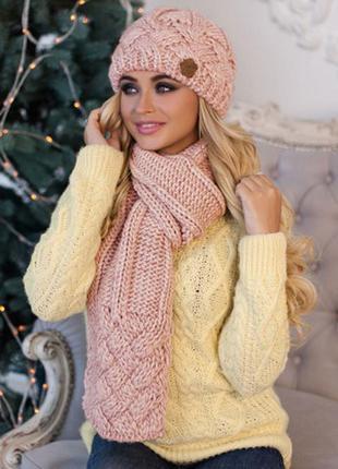 Пудра зимний комплект, набор шапка на флисе и шарф