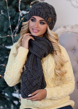 Темносерый зимний комплект, набор шапка на флисе и шарф