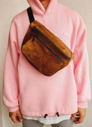 Oversize бананка кожа сумка на плече натуральная замша коричневая гигант!