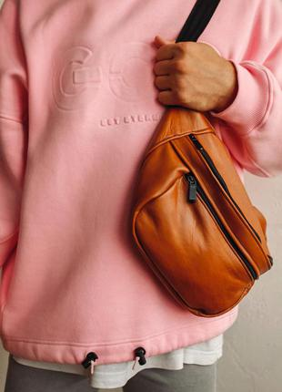 Oversize бананка кожа сумка на плече натуральная кожаная рыжая гигант