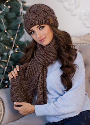 Коричневый зимний комплект, набор шапка на флисе и шарф
