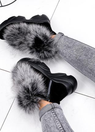 Зимние женские ботинки полусапожки натуральная замша