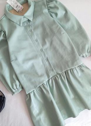 Новая шикарная кожаная блузка, кожаная блузка с объемными рукавами