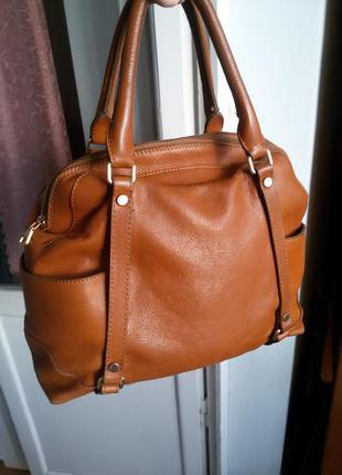 Большая вместительная кожаная сумка massimo dutti
