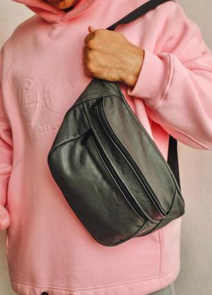 Oversize бананка кожа сумка на плече натуральная кожаная серая гигант
