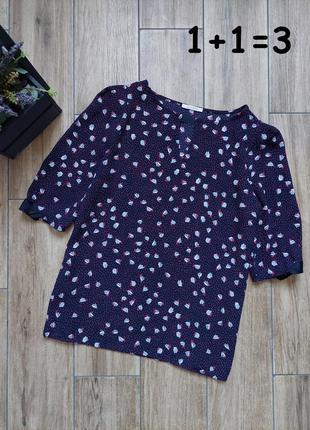 Promod стильная блузка xs-s блуза синяя узор горошек цветы короткий рукав