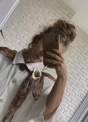 Винтажная блузка с брошкой дикий винтаж длинная