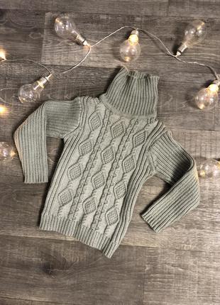 Детский вязанный тёплый свитер с широким горлышком