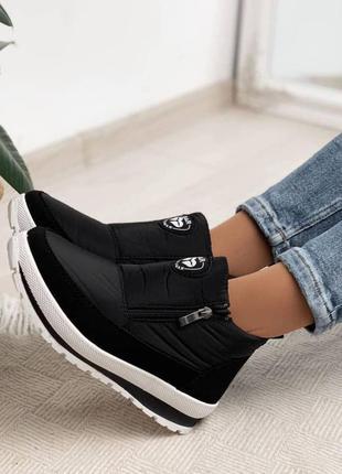 Женские зимние черные ботинки на меху термосапоги дутики кроссовки 36-41