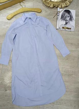 Блакитна котонова сукня сорочка massimo dutti