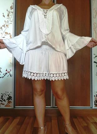 Невесомое белоснежное пляжное платье в стиле бохо из 100% вискозы