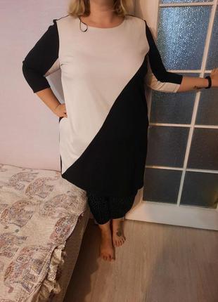 Шикарное трикотажное платье с ассиметрией, пог-66