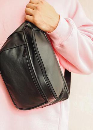 Oversize бананка кожа сумка на плече натуральная кожаная черная матовая гигант