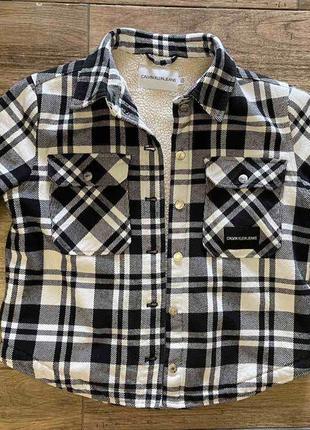Утеплёная куртка в клетку пиджак calvin klein