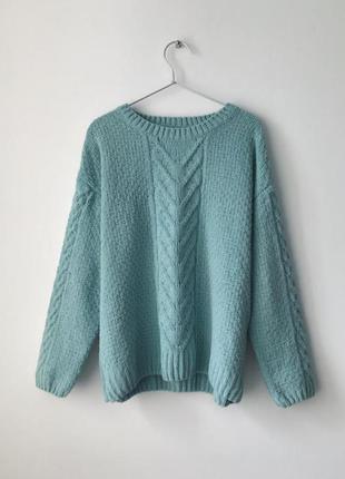 Мятный плюшевий вязаный свитер primark