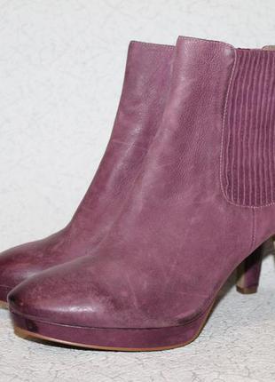 Стильные кожаные ботинки ecco 41 размер 27 см стелька.шикарный цвет