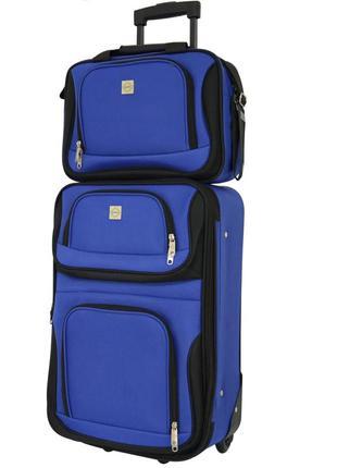 Комплект сумка и чемодан тканевый маленький s на 2 колёсах bonro best (синий / blue)