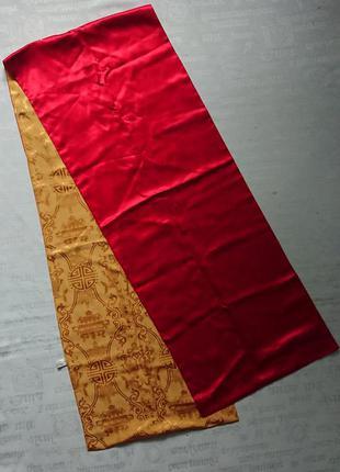 Красочный шелковый шарф с узором/ длинный, двусторонний 1,97смх36см