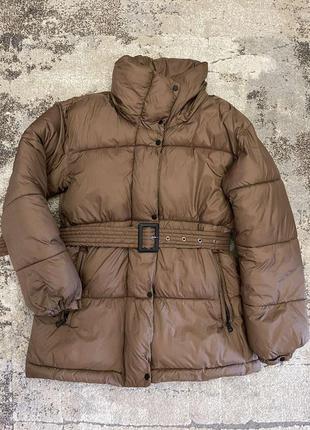 Пуховик куртка mango с поясом пальто