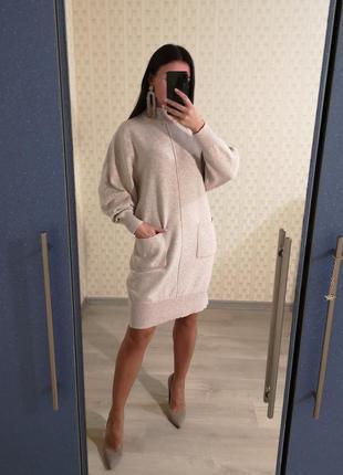 Тёплое платье с шерстью, свободное платье, шерстяное платье, шерсть, зимнее платье