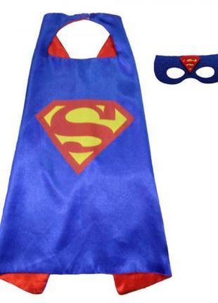 Детский маскарадный костюм супермен плащ и маска +подарок