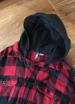 Рубашка тёплая в клетку с капюшоном