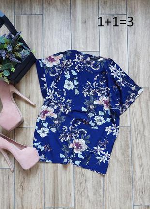 Shein стильная прямая блузка s узор принт цветы свободный фасон блуза
