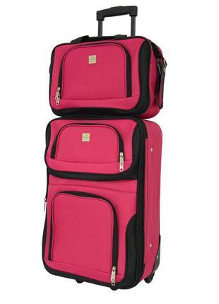 Комплект сумка и чемодан тканевый средний m на 2 колёсах bonro best (вишневый / pink)