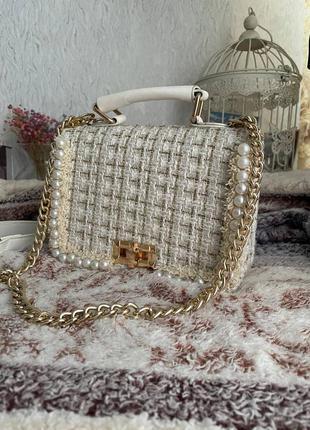 Женская квадратная сумка-тоут высококачественная шерстяная дизайнерская дамская сумочка с жемчугом сумка через плечо