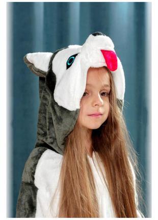 Женская мужская детская пижама кигуруми хаски / піжама кігурумі собачка хаскі